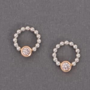 Argyle earrings, Argyle diamonds, pink diamond, pink diamond earrings, two tone earrings, pink, diamond earrings, Abrecht Bird Jewellers
