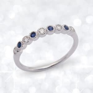 sapphire, diamond, Abrecht Bird Jewellers, sapphire anniversary ring, anniversary ring, sapphire wedding ring, sapphire and diamond wedding ring, Abrecht Bird Jeweller,