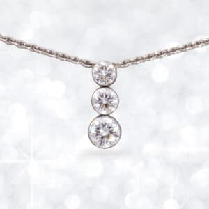 three diamond pendant, white gold diamond pendant, diamond, pendant, Abrecht Bird Jewellers